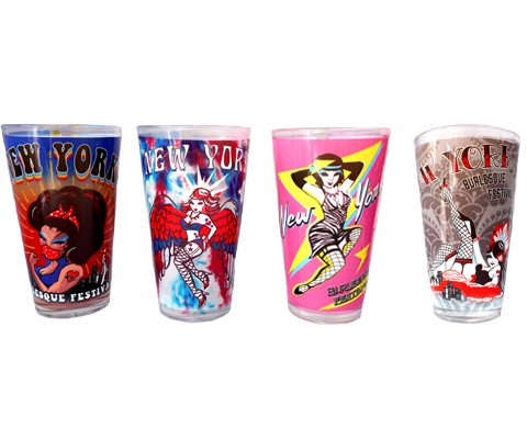 Burlesque pint glasses, a collection of a variety of styles of the Burlesque Festival handmade pint glasses, handmade gifts made in Brooklyn NY