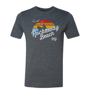 Rockaway Beach t-shirt for adults, retro surfer with rainbow design on a blue t-shirt, handmade gifts for everyone made in Brooklyn NY