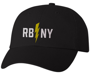 Rockaway Beach hat, Rockaway bolts New York design on a black classic baseball cap, hand-printed, handmade gifts for everyone made in Brooklyn NY