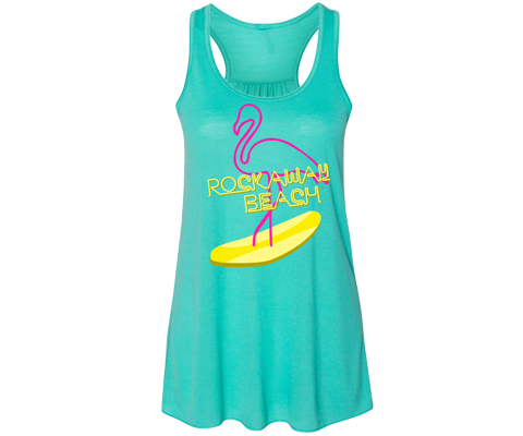 Rockaway beach tank top for ladies rad retro 80's style with flamingo design on a Flowy tank, Handmade gifts for her made in Brooklyn NY