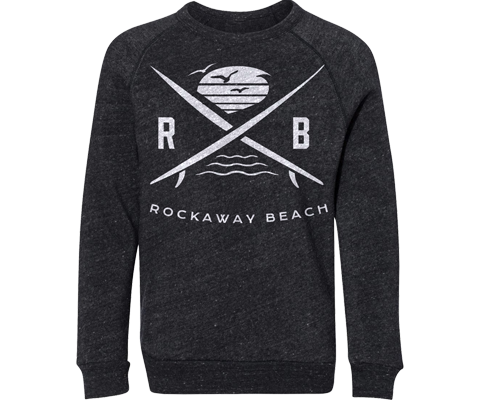 Rockaway Surfer X Youth Fleece Heather Gray Crew Neck Sweatshirt
