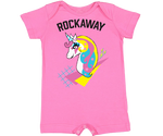 Rockaway Rad Unicorn Baby Romper in Hot Pink