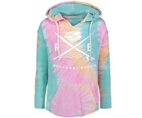 Rockaway beach hoodie for ladies , cool tie dye design, cozy and comfortable,Handmade gifts for her made in Brooklyn NY