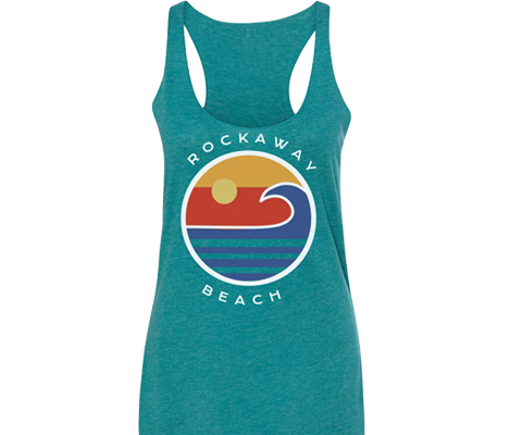 Rockaway beach tank top for ladies teal tank top with colorful design, retro style,Handmade gifts for her made in Brooklyn NY