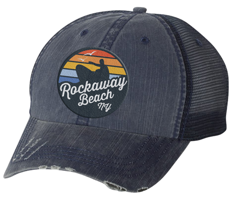Rockaway Rainbow Surfer Embroidered Distressed Navy Mesh Back Hat
