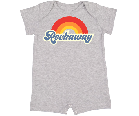 Rockaway Rainbow Gray Shorts Baby Romper