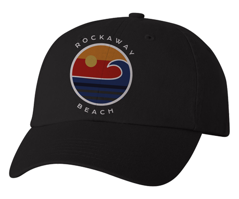 Rockaway Beach hat, Rockaway Beach ocean wave design on a black classic baseball cap, hand-printed, handmade gifts for everyone made in Brooklyn NY