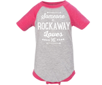 Someone in Rockaway Pink Raglan Baby Onesie