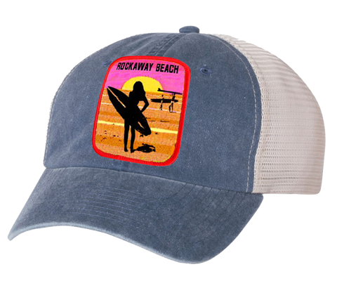 Rockaway Beach hat, Rockaway Beach surfer girl patch design on a stone gray embroidered classic baseball cap with mesh back, hand-applied patch, handmade gifts for everyone made in Brooklyn NY