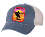 Rockaway Surfer Girl Embroidered Gray/Stone Mesh Back Hat