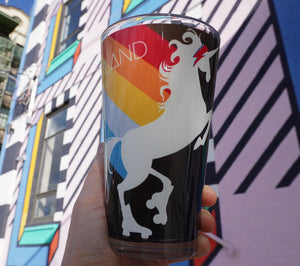 Roller skating pint glass, fun unicorn design on a handmade pint glass handmade gifts for everyone made in Brooklyn NY