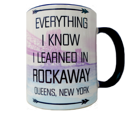 Rockaway Beach mug, hand-printed Rockaway bridge design on a handmade mug, handmade gifts for everyone made in Brooklyn NY