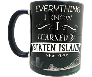 Load image into Gallery viewer, Staten Island mug, hand-printed Staten Island design with Verrazano Bridge on a handmade mug, handmade gifts for everyone made in Brooklyn NY