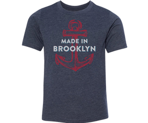 Brooklyn kids t-shirt, hand-printed with anchor on a heather blue t-shirt, handmade gifts for kids made in Brooklyn NY