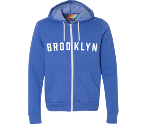 A must-have Brooklyn kid's bright blue hoodie. Brooklyn print on a bright blue backdrop youth hoodie. Handmade for kids in Brooklyn New York. With lots of neighborhood titles available. The choice is yours.