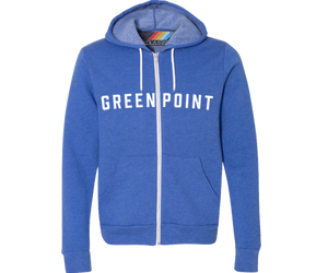 A Green Point bright blue youth hoodie.