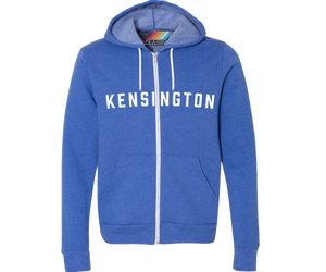 A Kensington bright blue youth hoodie.