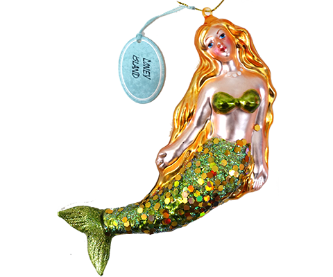 Coney Island Mermaid Vintage Glass Ornament