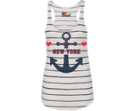 New York Heart Anchor Nautical Striped Tank