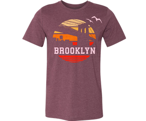 Brooklyn t-shirt for adults, vintage 1970s orange Sunrise design on a maroon t-shirt, handmade gifts for everyone made in Brooklyn NY