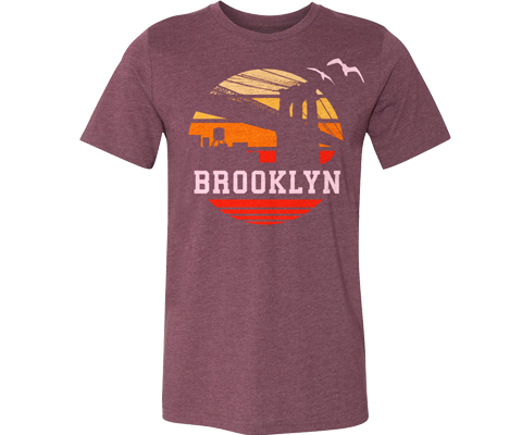 Orange Sunrise Adult Tee in Maroon