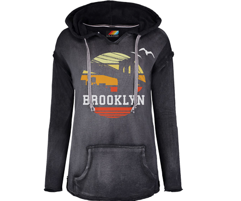 Brooklyn Sunrise Super Soft Charcoal Fleece Hoodie