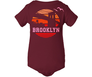 Load image into Gallery viewer, Brooklyn Baby Onesie, retro 1970s orange Sunrise design was a Brooklyn Bridge on a maroon babies onesie, handmade gifts are babies made in Brooklyn NY