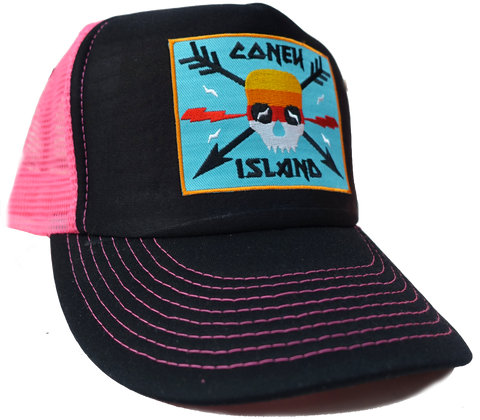 Coney Island Surfer Skull Trucker Hat