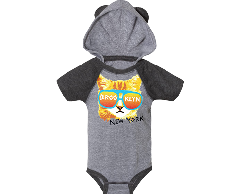 Load image into Gallery viewer, Brooklyn Baby Onesie, adorable Red Cat design on a hooded grey babies onesie with ears, handmade gifts made in Brooklyn NY