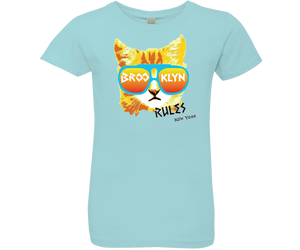 Brooklyn t-shirts for girls, adorable fun cat design on an aqua t-shirt, handmade gift for kids made in Brooklyn NY