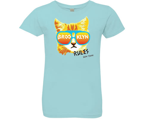 Brooklyn Rad Cat Light Aqua Girls Tee