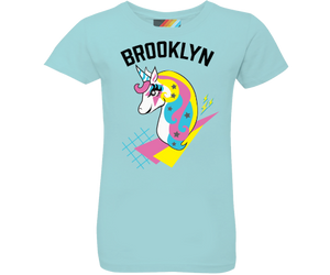 Neighborhood t-shirts for girls, dazzling unicorn design on a light Aqua t shirt, handmade gifts for kids made in Brooklyn New