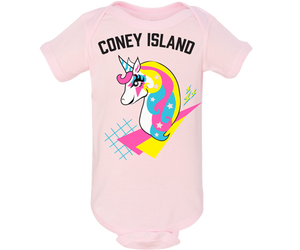 Coney Island onesie. Retro unicorn design on a light pink baby girls onesie. Handmade gift for babies and parents to be made in Brooklyn New York.