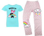 Rainbow Mermaid Kids Pajama Set- Lots of Neighborhoods Available