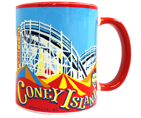 Coney Island love, coney Island Cyclone roller coaster and parachute drop design on a handmade mug, handmade gifts for everyone made in Brooklyn NY