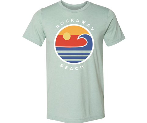 Rockaway Globe Adult Tee in Light Sea Green