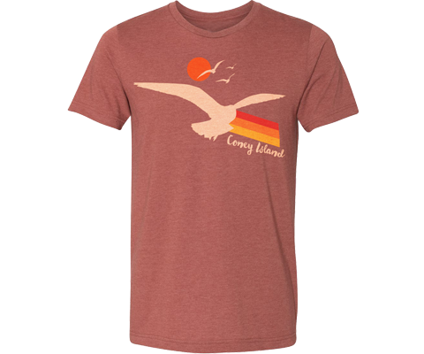 Coney Island t-shirt for adults, Seagull Sunset design on a clay color T-shirt, handmade gifts for everyone made in Brooklyn NY