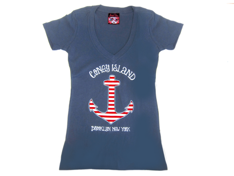 Striped Anchor V Neck