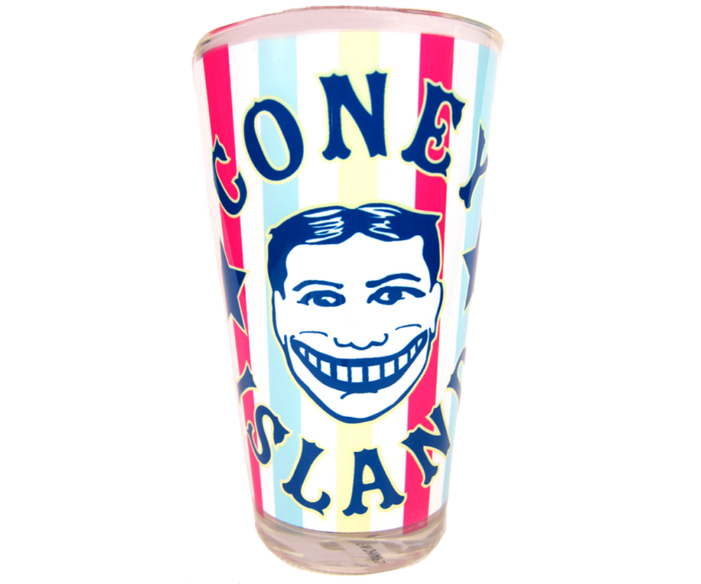 Coney Island pint glass, Vintage Carnival design with Steeplechase funny face design on a handmade pint glass, handmade gifts for everyone made in Brooklyn NY