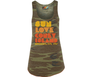 Load image into Gallery viewer, Sun, Love, Coney Island Camo Tank