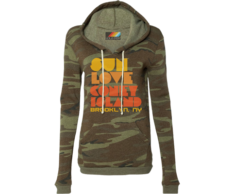 Coney Island hoodies for ladies, camo print, retro 70's style design,Handmade gifts for her made in Brooklyn NY