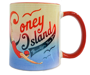 Coney Island Mug, Vintage swimmer design,handmade mug,handmade gifts for everyone made in Brooklyn NY