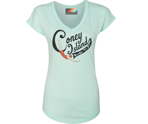 Coney Island Swimmer Light Aqua V Neck Tee