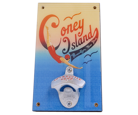 Coney Island Swimmer Wall Bottle Opener