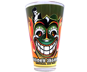 Coney Island pint glass, tiki Steeplechase funny face design with a flame backdrop, handmade pint glass, handmade gifts made in Brooklyn NY