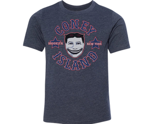 A must-have Coney Island kids t-shirt. With a vintage Tilly design on a heather blue kids tee handmade for kids in Brooklyn New York.