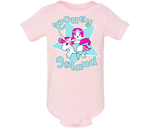 Adorable light pink Coney Island onesie. With a unicorn mermaid design. Must-have for baby girls. Handmade for babies and parents to be made in Brooklyn New York. Perfect for a baby shower gift..
