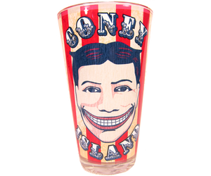Load image into Gallery viewer, Coney Island pint glass, vintage Steeplechase funny face design on circus striped background, handmade pint glass, handmade gifts for everyone made in Brooklyn NY