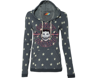 Totally rad star studded Coney Island hoodie with George C. Tilyou's face on it.