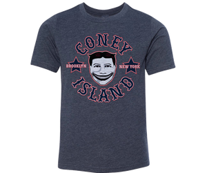 Coney Island t-shirt for kids, vintage Steeplechase funny face design on a blue t-shirt, handmade gifts for kids made in Brooklyn NY